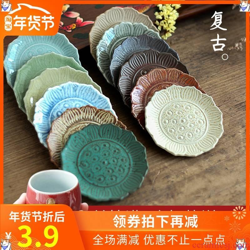 Manual coasters ceramic creative coarse iron glaze ceramic saucer insulating mat cup of black tea spare parts kung fu tea taking