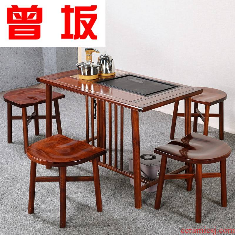 Once sitting on household of Chinese style tea tea tea table antique solid wood tea table and chair hua limu tea table