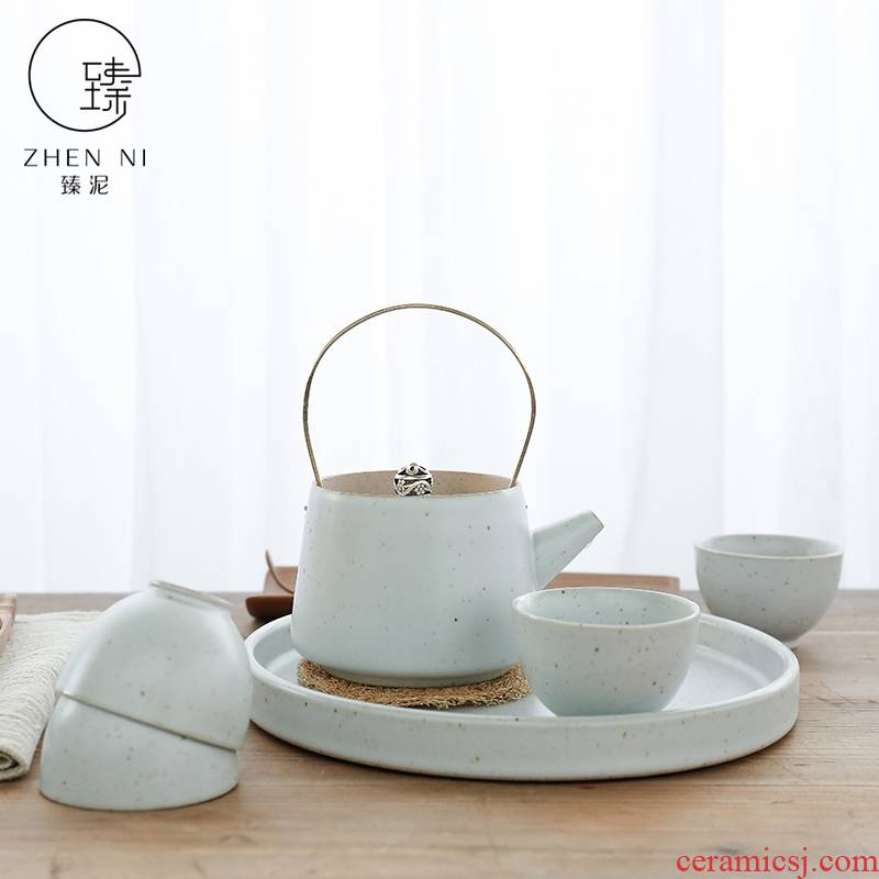 Japanese girder by mud pot of tea set the whole household dry tea teapot teacup set of kung fu tea set