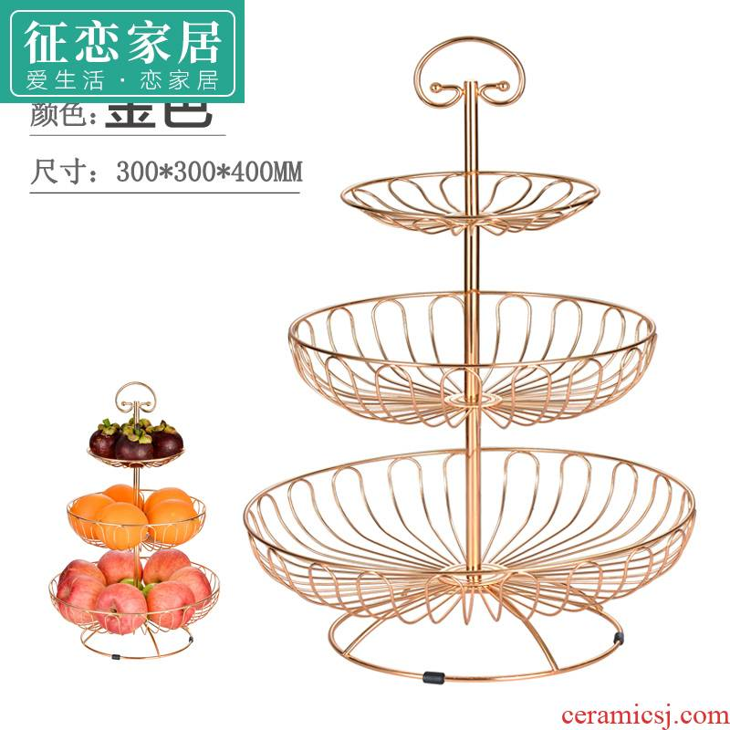Creative fruit bowl tea table table stents desktop on the west three the layers of continental plate plate wine shelf