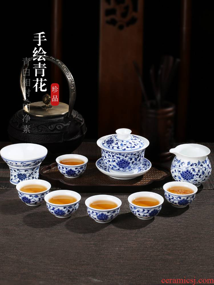 Jingdezhen up fire ceramic kung fu tea set household which is hand - made cup lid of blue and white porcelain bowl