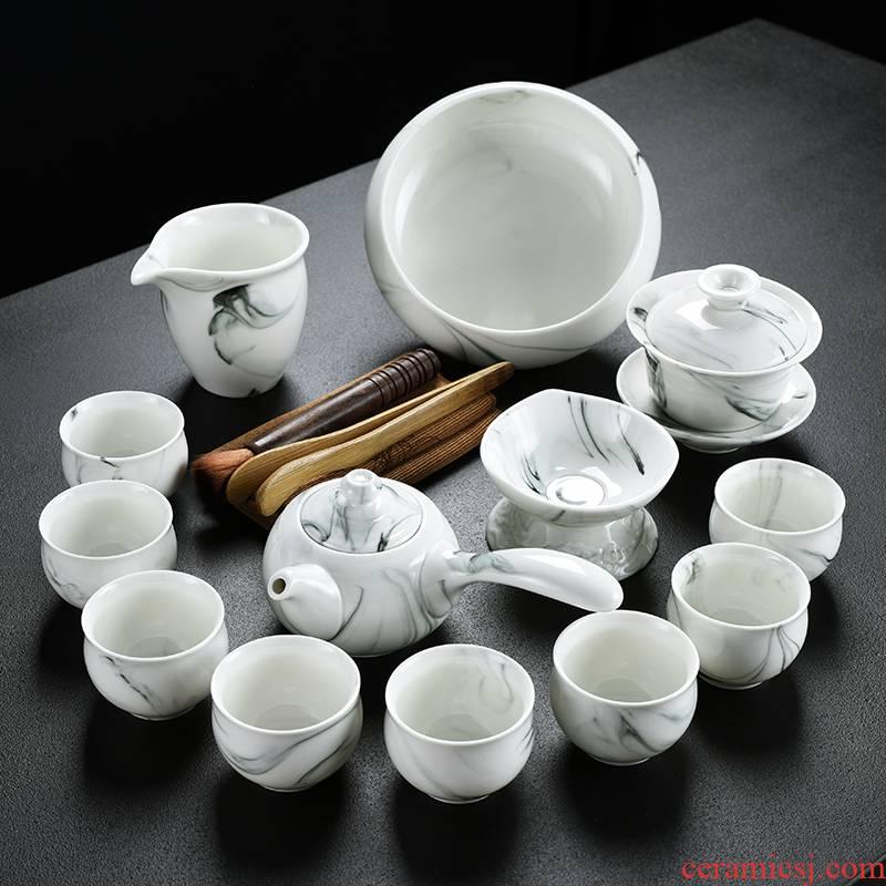 Old sides white porcelain tea set at the grid side wash pot of group tureen tea tea incense buner ashtray caddy fixings