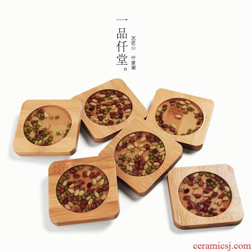 Red bamboo yipin micky hall mung bean cup mat wood tic - tac - toe glass ceramic insulation kung fu tea tea accessories