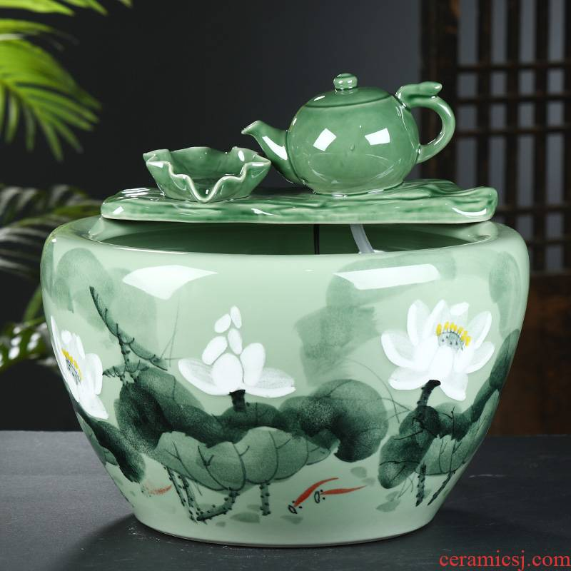 Jingdezhen ceramic aquarium household goldfish bowl sitting room balcony office furnishing articles courtyard water vats fish bowl