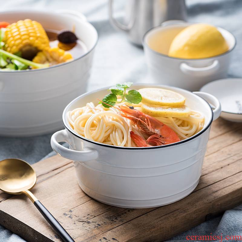 Ceramic ear soup bowl salad bowl thick soup bowl of the big bowl of soup bowl home restaurant tableware breakfast bowl of hold to high temperature
