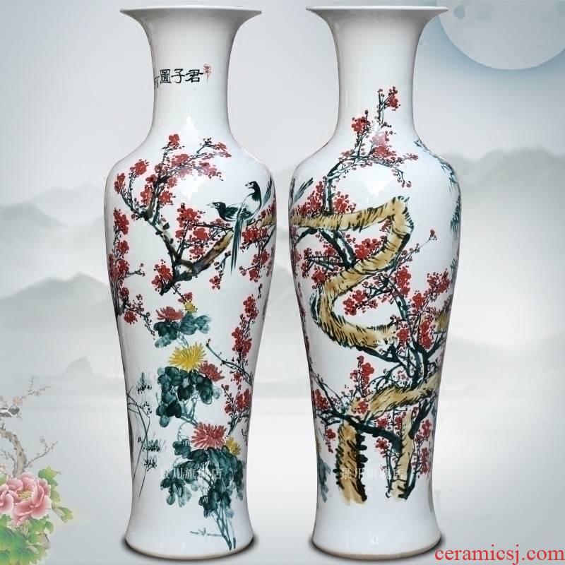 Jingdezhen ceramics hand - made pastel gentleman figure of large vase household adornment sitting room hotel furnishing articles