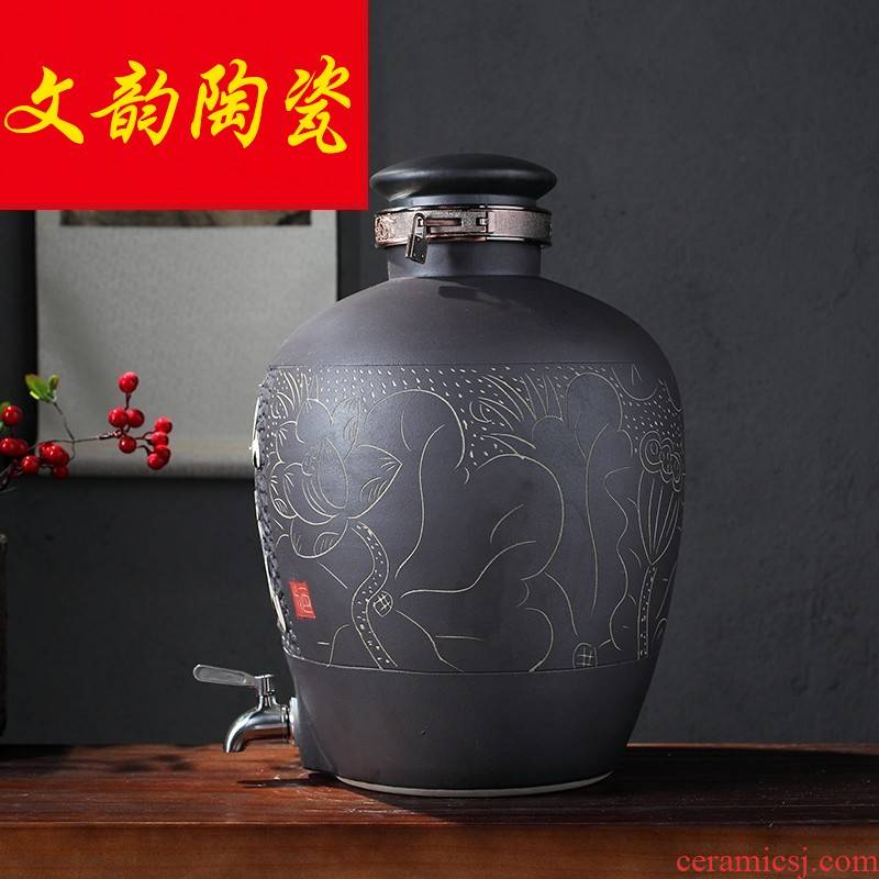 Jingdezhen ceramic jars vintage wine bottle hip mercifully wine bottle 20 jins 30 jins 50 kg jar to save it
