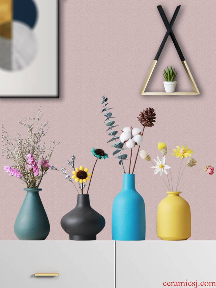 Creative flower arranging the Nordic ceramic floret bottle furnishing articles sitting room dry flower receptacle small pure and fresh and ins TV ark, adornment