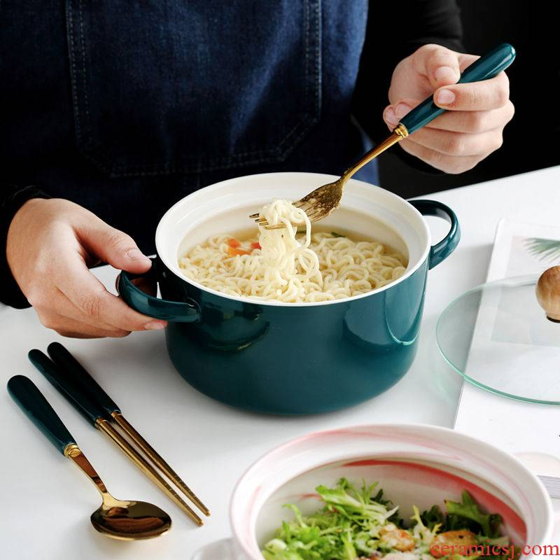 Nordic contracted ceramic bowl glass mercifully instant noodles bowl with cover with handle students eat a bowl of soup bowl can microwave oven