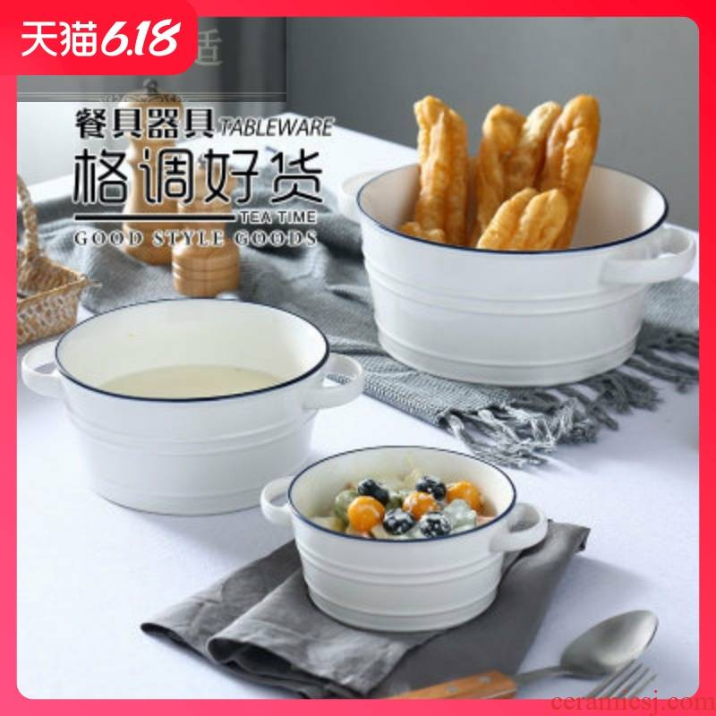 Guest comfortable Japanese resistant ceramic big ears of instant oatmeal bowl of cereal bowl bowl household Nordic steamed egg noodles for breakfast