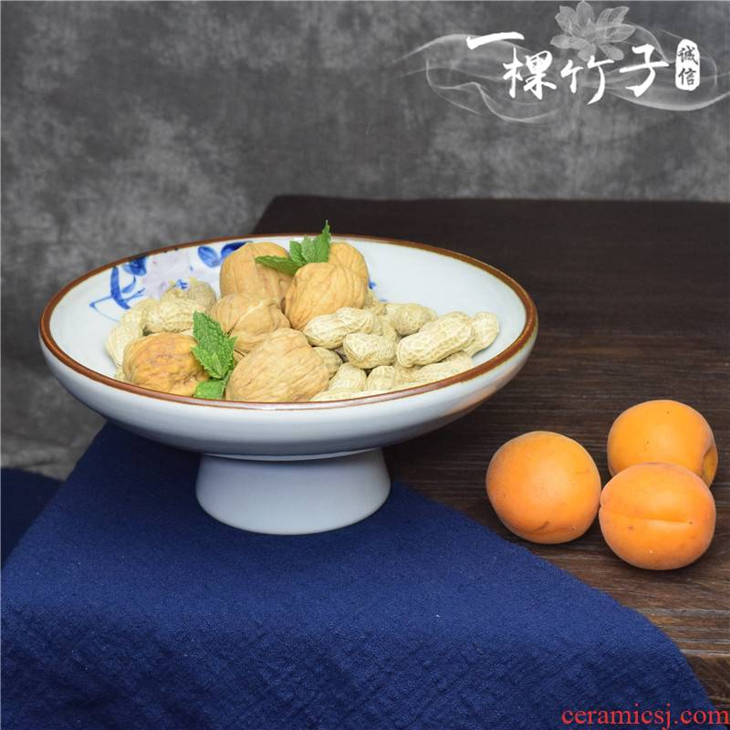 Compote Chinese tea set tea zen fruit for disc snack dried fruit snacks footed plate/JX