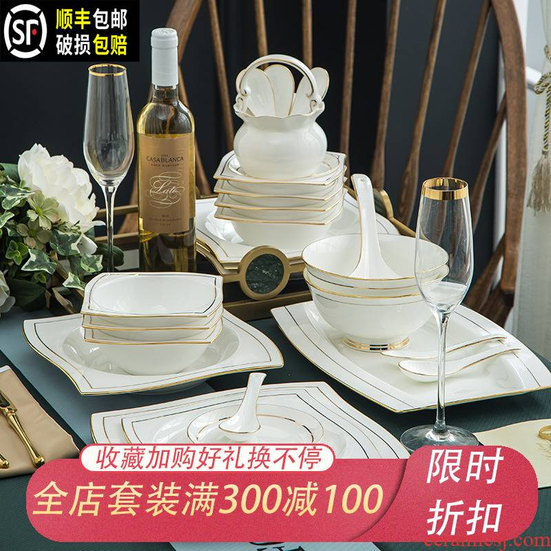 Ipads bowls up phnom penh dish suit household jingdezhen ceramic tableware creative contracted Europe type bowl plate combination of kunlun