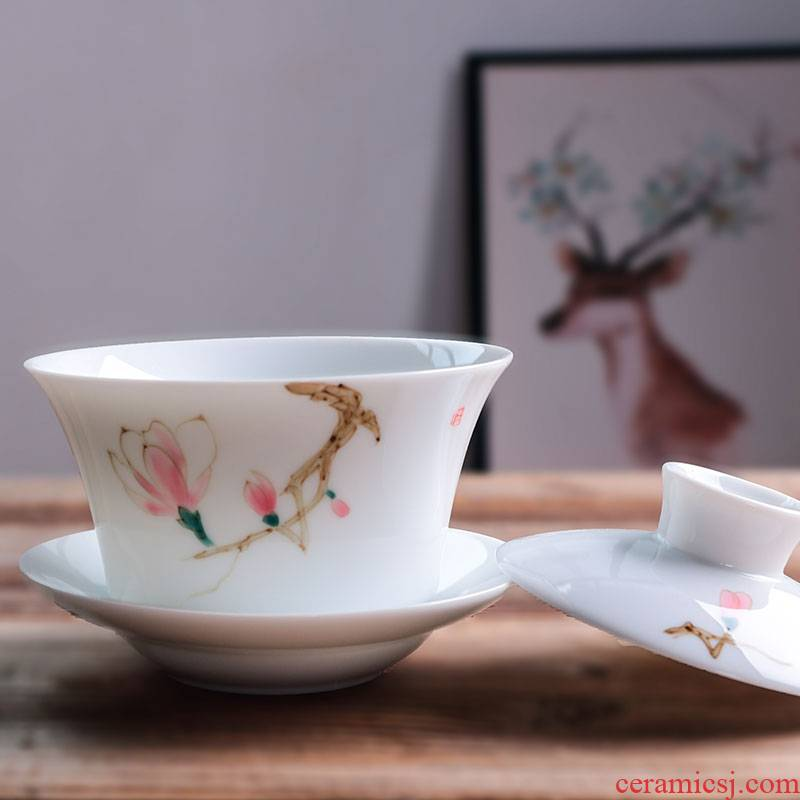 Fujian and hand - made ceramic tea tureen tea cups domestic large bowl to bowl kunfu tea bowl of tea set a complete set of three
