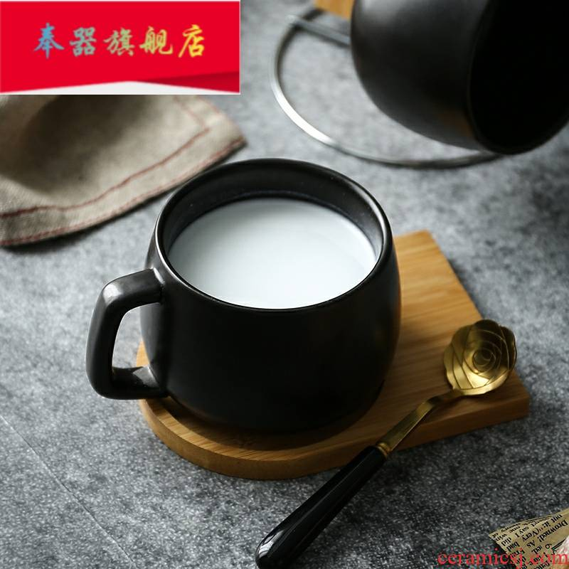 Ceramic cup small European - style key-2 luxury black coffee cup office keller with spoon with bamboo MATS gift sets