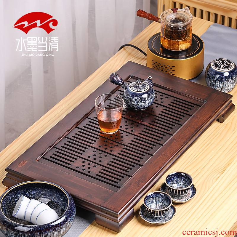 Bamboo tea tray household contracted and I drainage type tray Bamboo kung fu tea tea table drawer rectangle size