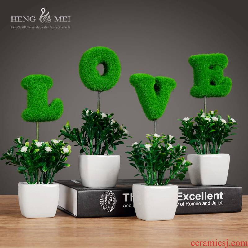 The Mini simulation decoration home decoration wedding gift flowers creative ceramics decoration MAO qiu potted furnishing articles