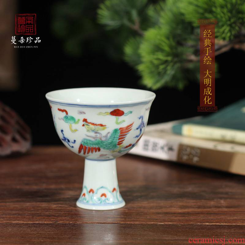 Archaize of jingdezhen porcelain tall tall people classic blue and white porcelain up porcelain cup chenghua cup seems as long as three years