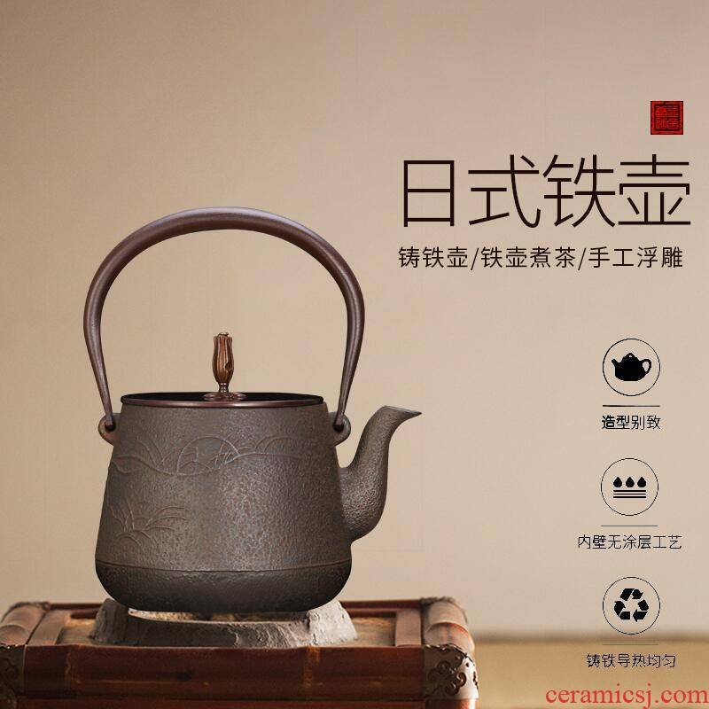 Four - walled yard manual reliefs cast iron pot of tea kettle pot single pot of large capacity boiled tea, Japanese pig iron pot