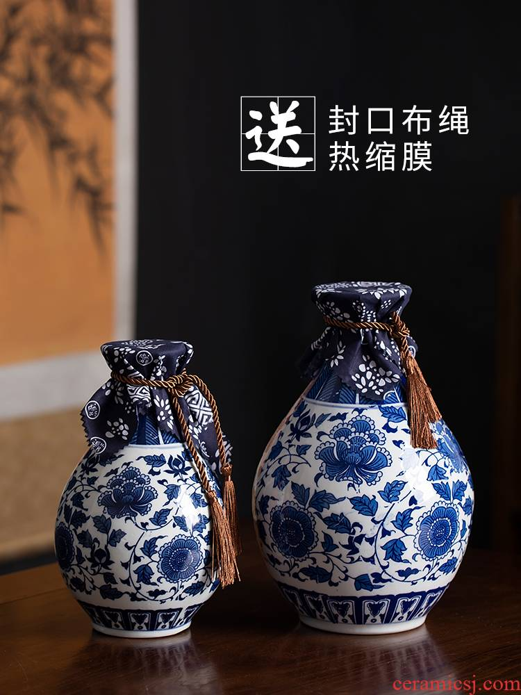 Jingdezhen ceramic blue the empty bottle of liquor bottles of wine jar sealed jars 1/2/3/5 jins of flask