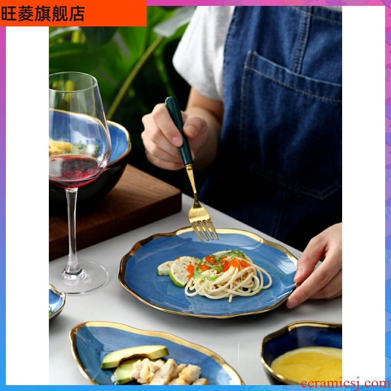 Europe type variable blue sky up phnom penh tableware suit creative dishes wave jobs household ceramic bowl dish dish meal.