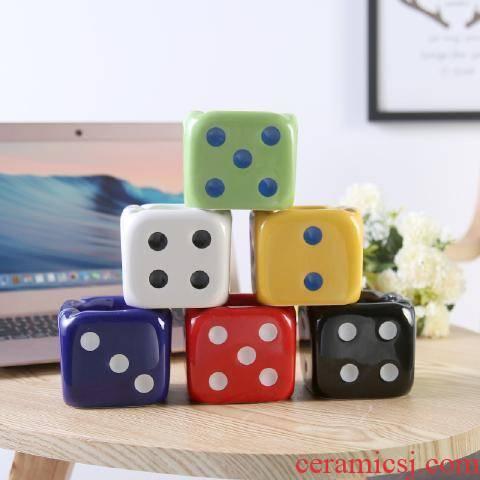 Rhinoceros, contracted fashion creative move, lovely dice ashtray mini multi - function ceramic ashtray household gifts