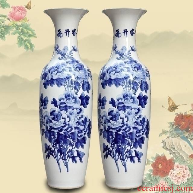 Hand - made peony landing big vase of blue and white porcelain of jingdezhen ceramics furnishing articles home decoration