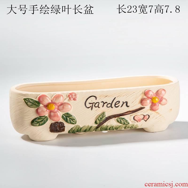 Fleshy flowerpot ceramic creative move a rectangle large caliber through pockets clearance girl heart flower pot