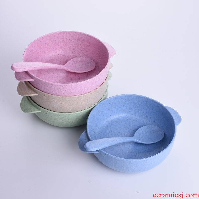 Baby Baby bowl spoon side dish bowl bowl of rice cereal bowl straw tableware children learn to eat training fruit bowl