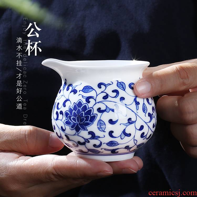 Jingdezhen up the fire which hand made blue and white porcelain points kung fu tea tea tea ware ceramics fair keller cup