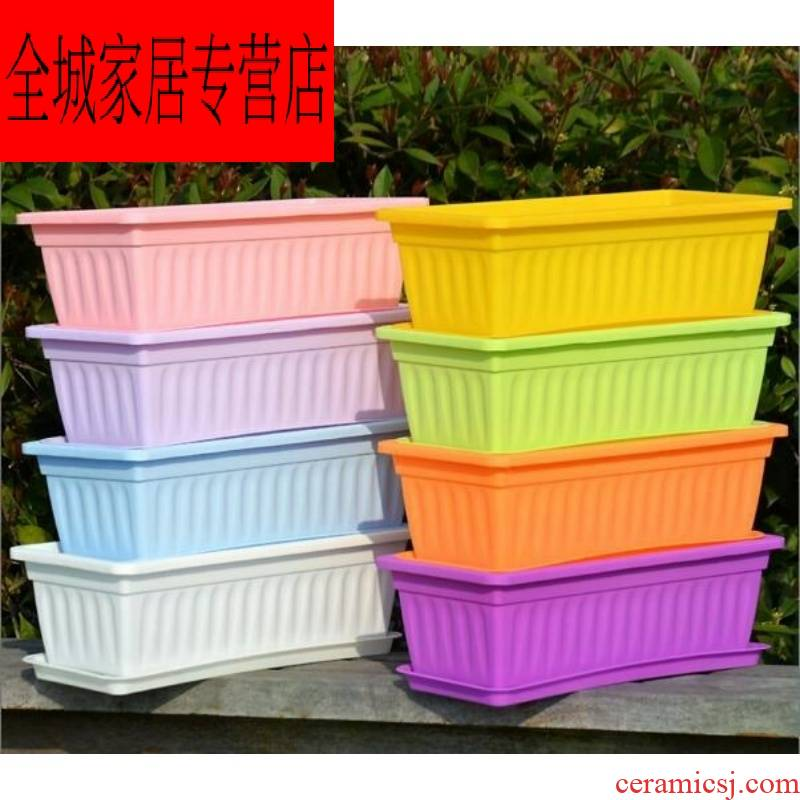 Leek ceramic caulis dendrobii comedy windowsill pot planting box rectangle narrow strip multilayer aquarium lotus root of potatoes