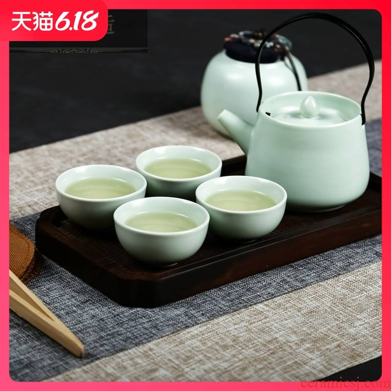 Guest comfortable resistant ceramic tea set portable travel gift set girder pot of tea, business gifts