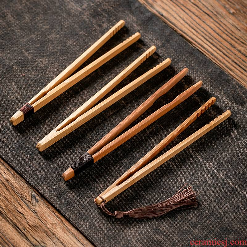 Fujian and manual natural bamboo ChaGa cup upset clip clip antiskid tweezers Japanese kung fu tea set spare parts