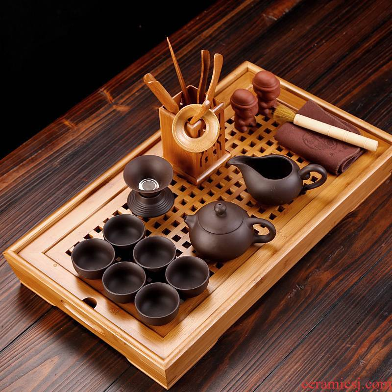 Purple sand tea set bamboo tea tray was water rectangle ceramic six cups small tea household contracted