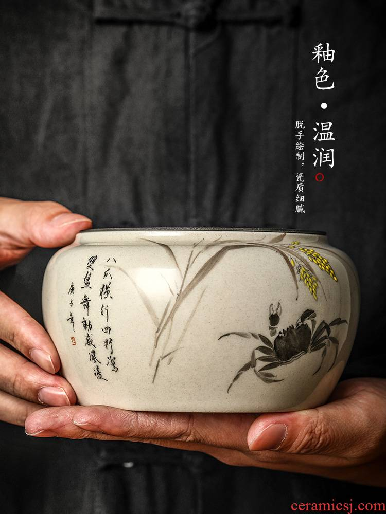 Jingdezhen hand - made the crab pot bearing water pure manual plant ash glaze paddy fields ceramic dry mercifully water wash tea accessories