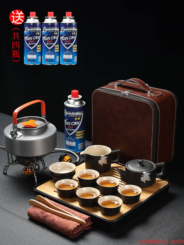 Black pottery is suing portable travel kung fu tea set tea boiled tea stove on - board kettle tea tray was contracted household