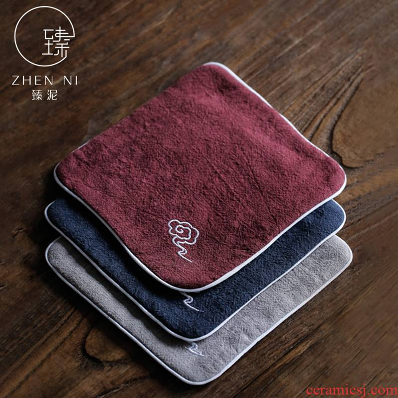 By mud ramie cotton tea towel embroidery xiangyun small tea table cotton thickening strong suction tablecloth pot pad tea tea accessories