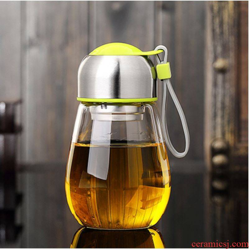 Choi pomelo thickening glass business office men and make tea cups with cover portable a bigger car belt filter cup