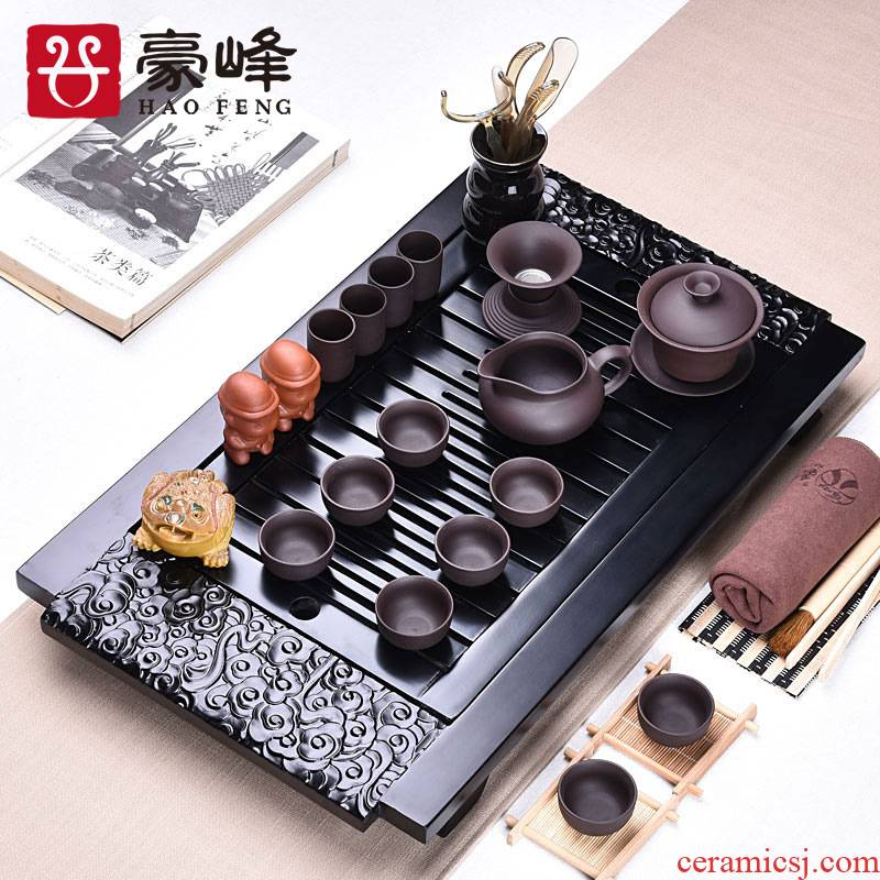 HaoFeng purple small kung fu of a complete set of tea sets and work home office contracted the draw - out type solid wood tea table