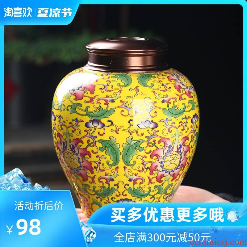 The Crown chang caddy fixings ceramic seal colored enamel craft white tea, green tea tea boxes moisture storage tank loose tea pot