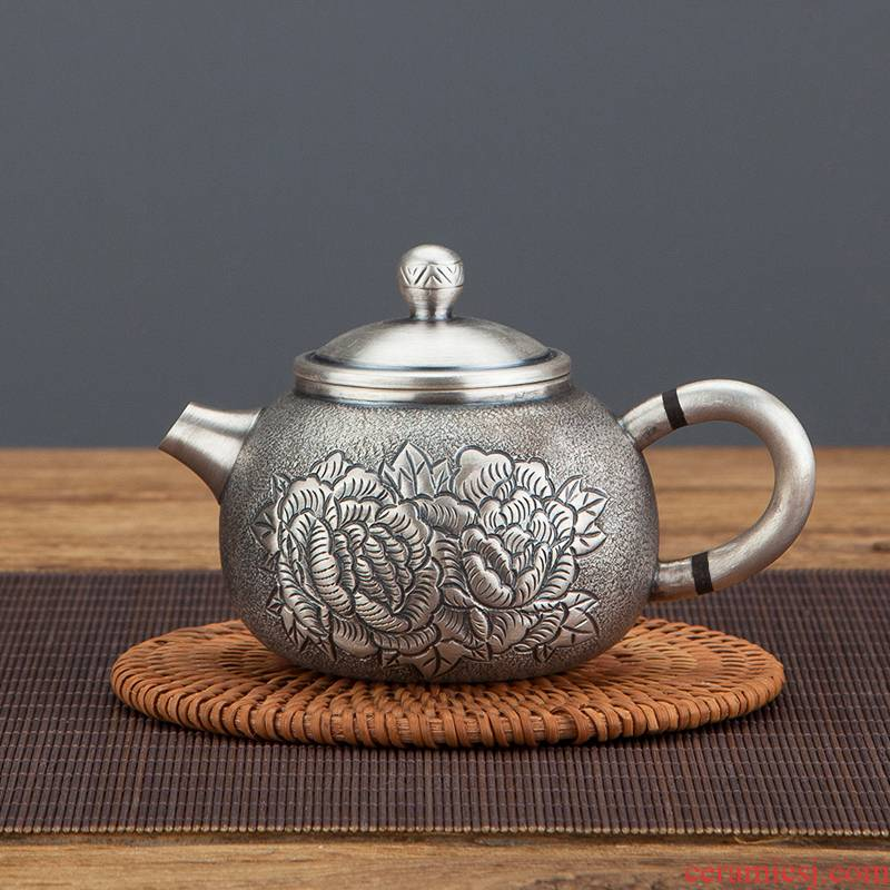 Sterling silver 999 manual home cooked tea kettle gift tea set silver pot of large capacity carve engraves peony restoring ancient ways