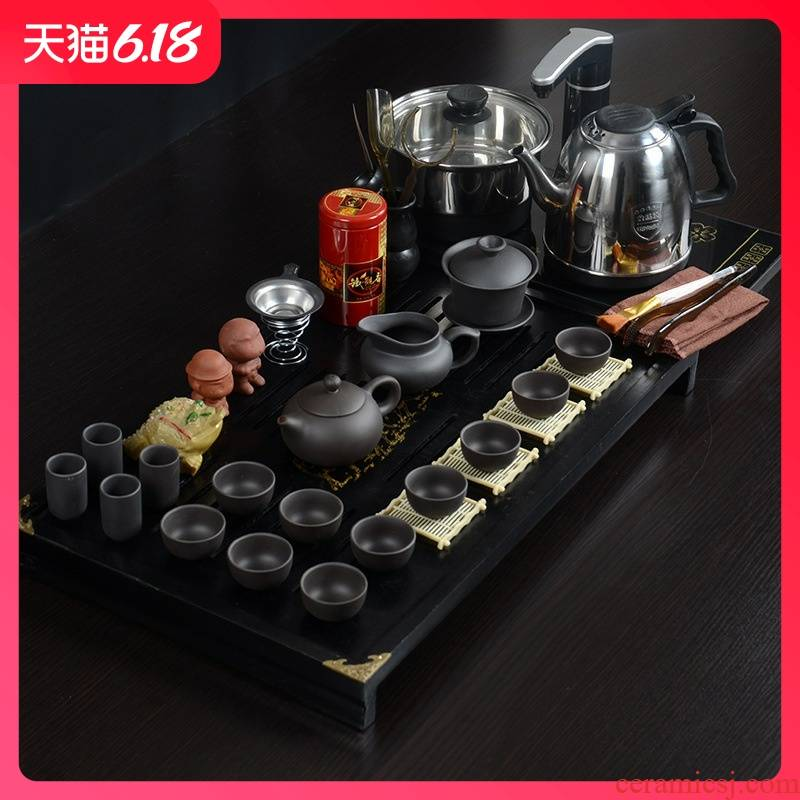 Hold to guest optimum solid wood tea tray of a complete set of ceramic kung fu tea set business gifts, office home