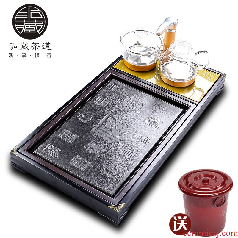 In building household contracted the snap one automatic induction cooker tea set ceramic panel solid wood tea tray