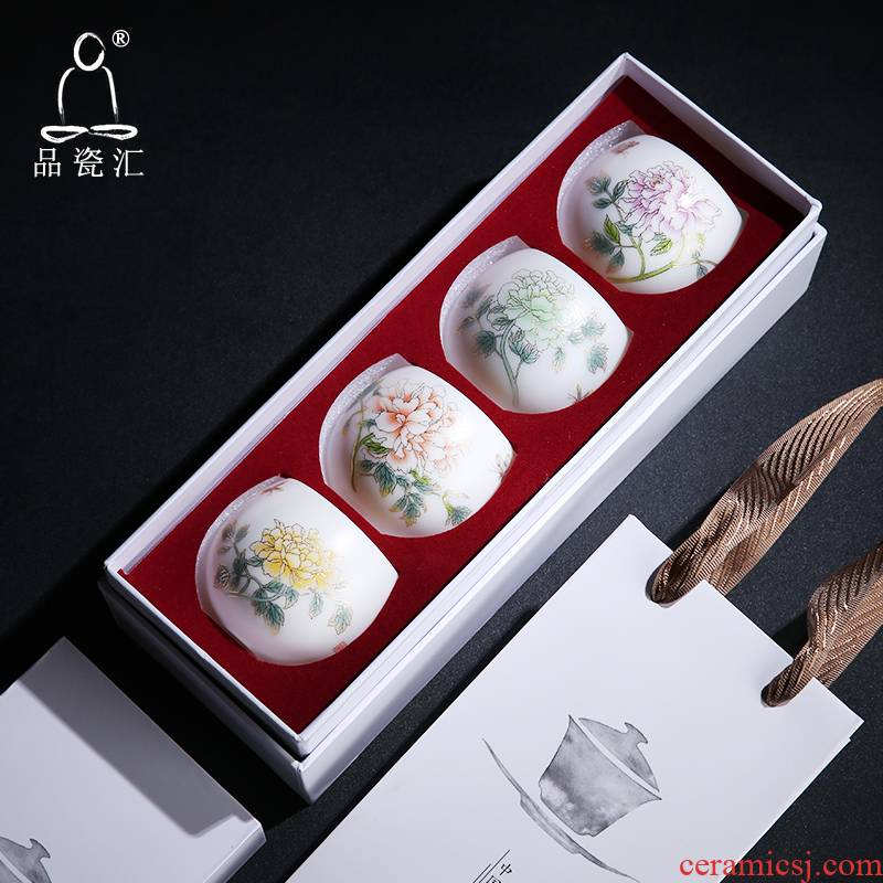 Quality dehua porcelain remit suet jade Quality paint the riches and honor peony cup, master cup of aloes cup tea keller of tea