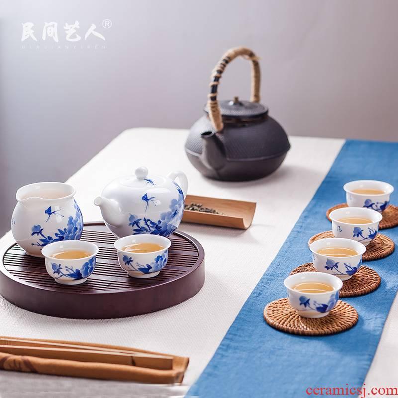 Jingdezhen ceramic tea set kung fu tea tea teapot teacup reasonable combination blunt son of a complete set of the teapot
