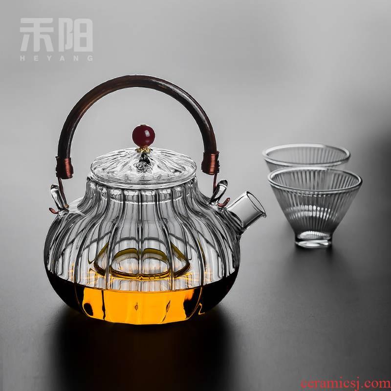 Send Yang Japanese petals glass teapot girder pot of household filter boil tea heat - resisting teapot kung fu tea set