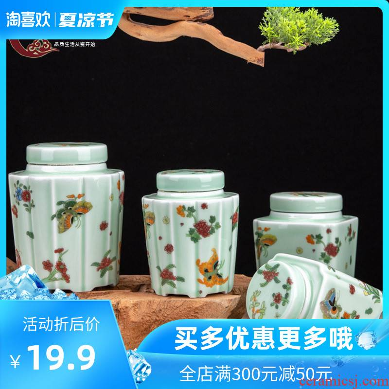 The Crown chang jingdezhen blue and white porcelain tea pot seal pot containing small mini portable ceramic round tea storage tanks