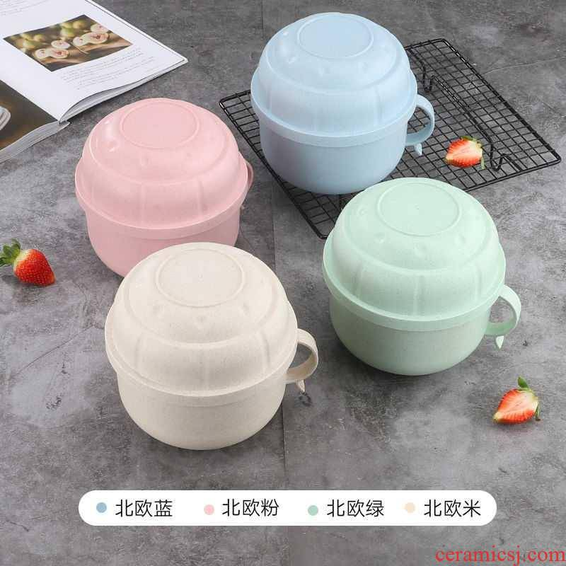 Rainbow such use large wheat straw tableware mercifully with cover student dormitory instant such as soup bowl chopsticks suit creative lunch box