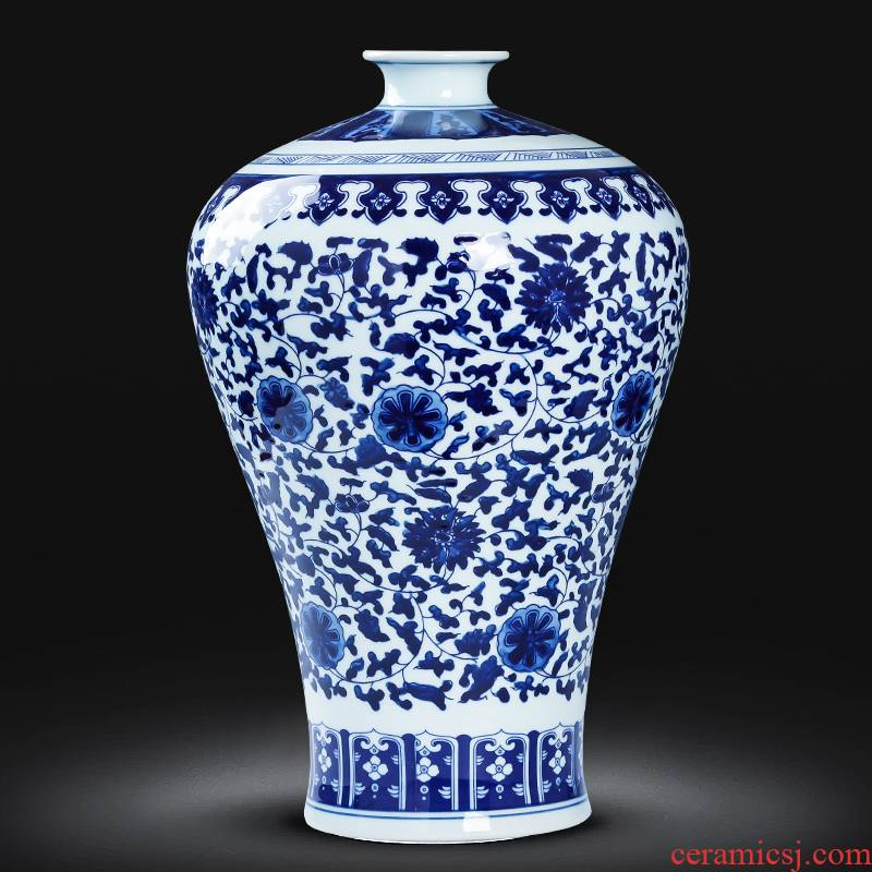 Archaize of jingdezhen porcelain ceramic glaze color under the blue and white porcelain vase furnishing articles of Chinese style restoring ancient ways home sitting room adornment