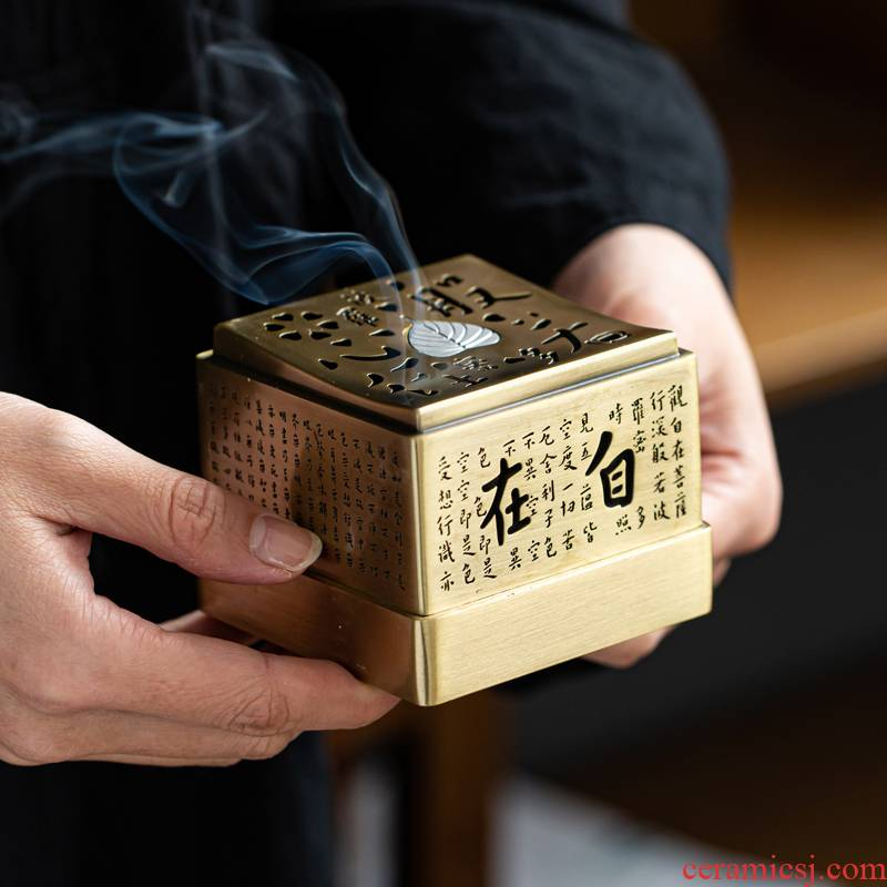 Archaize home attentively scripture sandalwood dish incense buner tea taking for Buddha smoked aroma stove the indoor creative tea furnishing articles