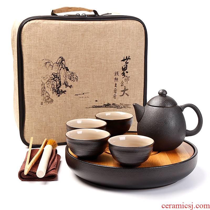 Kung fu tea set small suit creative mini dry tea tray on - board, portable BaoHu outside a pot of four cups of ceramic household